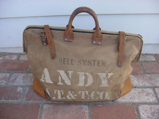 Vintage Bell Systems A T & T Tool Bag Linemans Bag, Canvas+Leather