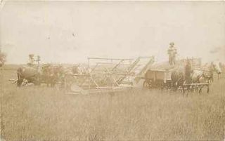 MO, Edina, Missouri, RPPC, Farming, Harvesting Scene, Horse Drawn Farm