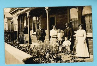 Old Photo Postcard FAMILLY Wood House & PEDAL TRICYCLE