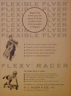 Allen Flexible Flyer Flexy Racer Wood Sled Kids Toy Print Trade Art AD
