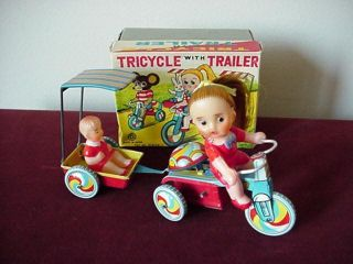 Rare Vintage Tin Wind Up Toy Tricycle with Trailer Mint with Original