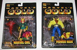 for 1 action figures MARVEL GOLD Power Man Marvel Girl NEW TOY BIZ