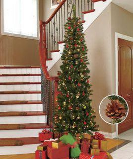 Ft Slim Pre Lit Christmas Tree   200 White Lights & 18 Pinecones
