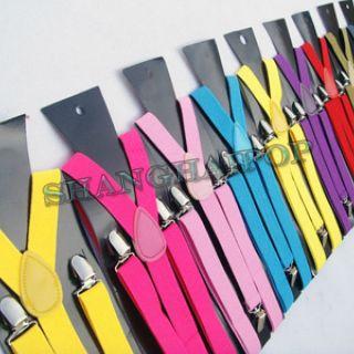 Unisex Y back Suspenders Elastic Polka Dots Pants Belt Adjust Brace