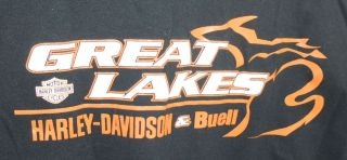 Great Lakes Harley Davidson & Buell Large Black T Shirt