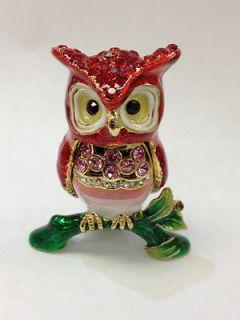 NEW Red Exquisite Owl Trinket Box w/ Austrian Crystals Jewelry box