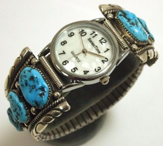 Zuni Sleeping Beauty Turquoise Sterling Mens Watch   Robert & Bernice