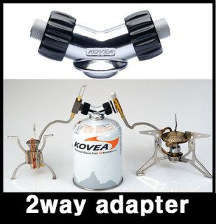 way gas adapter for one butane gas canister with 2 burners stove