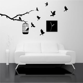 BIRDS BRANCH TREE WALL ART STICKER DECAL MURAL STENCIL VINYL PRINT