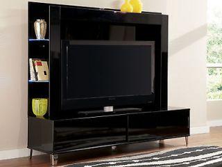 modern black large tv entertainment center wall living room furniture