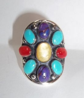 Sterling Silver Turquoise Coral multi Stone SADDLE Ring Size 6.5