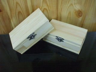 Lot of 2 Unfinished Unpainted Plain Natural Hinged Wood Wooden Box