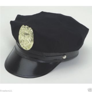 POLICE OFFICER POLICEMAN COP NAVY BLUE HAT WITH BADGE