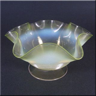 Victorian 1885 Vaseline/Uranium Glass Bowl w Threading