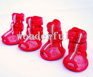 Red Mesh Velcro straps pet dog boots puppy sandals shoes apparel size
