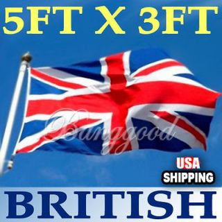 x5 Outdoor Indoor UK United Kingdom Great British Banner Flag