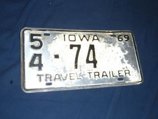 VINTAGE IOWA LICENSE PLATE 1969 TRAVEL TRAILER AVION AIRSTREAM SHASTA