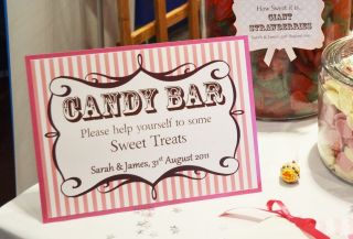 Wedding Candy Buffet Sweet Bar Table Personalised Sign   PINK Stripe