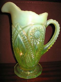 Vaseline Opalescent Carnival Glass water serving Pitcher diamond
