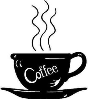 Coffee Cup Steaming Vinyl Decal Sticker Car Truck Boat Wall Signs