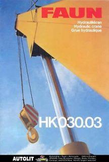 1986 Faun Deutz HKO30.03 Hydraulic Crane Truck Brochure