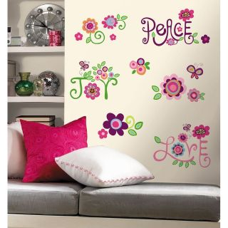New PEACE LOVE JOY WALL DECALS Girls Flowers Stickers
