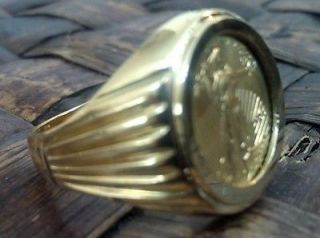 Heavy American Eagle $5 22k Gold Coin set in Solid 14k Gold Ring NO