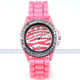 Lovely Pink Zebra Print Crystal Bezel Silicone Lady Girl Dress Watch