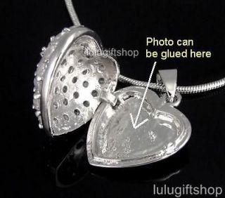 WHITE GOLD PLATED DIAMANTE HEART LOCKET PENDANT NECKLACE USE SWAROVSKI