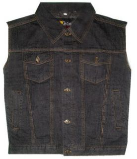 mens black denim vest in Vests