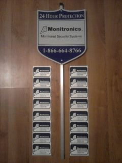 MONITRONICS SECURITY ALARM SYSTEM WARNING WINDOW STICKERS / DECALS