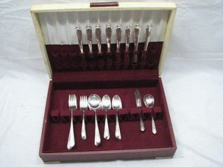 WM ROGERS BROS REFLECTION 50 PC SILVER PLATE FLATWARE SET SILVERWARE