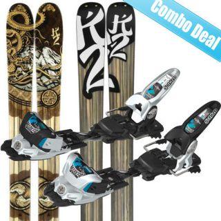 K2 Kung Fujas Skis + Marker Griffon Schizo Bindings 2012   SAVE 30%