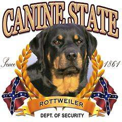 Shirt White Shirt Rottweiler Rotty Rott Canine State Dixie