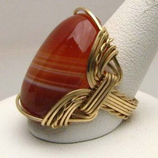 Wire Wrapped Red/White Sardonyx Gold Filled Ring