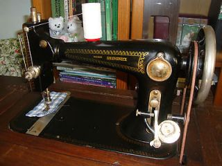 Vintage Wards Brunswick Treadle Sewing Machine & Table