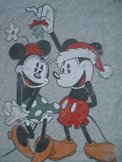 & Mickey Mouse   Christmas Juniors Distressed T Shirt S, M, or L