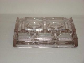 Vintage Heavy Glass Inkwell Pin Dip Holder Desk Top