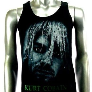 Sz L Nirvana Kurt Cobain T Shirt Tank Top Vest Biker Punk Men Rock V16