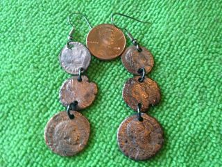 ANCIENT ROMAN 3 COIN EARRINGS  THE REAL THING  + 6 COIN DANGLING