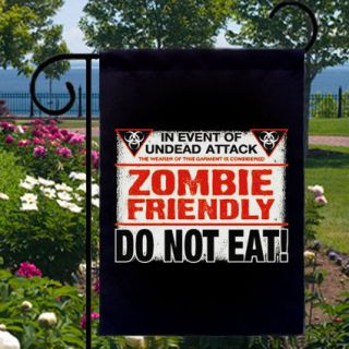 Halloween ZOMBIE FRIENDLY Do Not Eat NEW Small Garden Flag Ships FREE