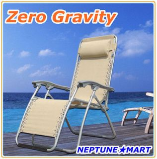 Zero Gravity Folding lounge Chair leisure recliner Beige