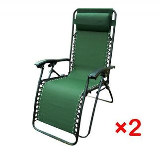 Green Foldable Lounge Chair Garden Zero Gravity Recliner Home 2pcs