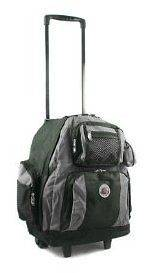 18 Travel Deluxe Rolling Backpack Bookbag Laptop Travel Bag Gray