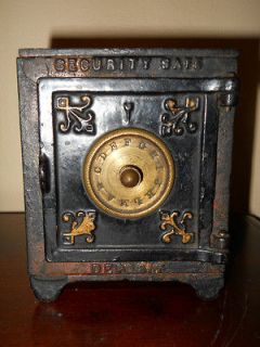 ANTIQUE SECURITY SAFE DEPOSIT KAYSER & REX CAST IRON BANK ORIGINAL