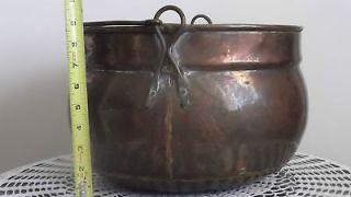 Large Copper Apple Butter Kettle, Pot, Cauldron w/Handle, 13 wide