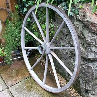 VINTAGE ANTIQUE WOODEN CART WAGON WHEEL CARTWHEEL AMERICAN CIRCA 1920