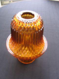 Amber Glass FAIRY LAMP Diamond Point Pattern Vintage