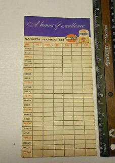 Bonus of Excellence Super Permalube Amoco Canasta Score Sheets
