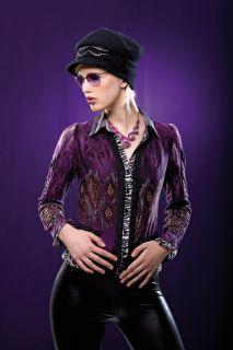 Alberto Makali Purple/Black Leopard Blouse Sz S M L XL New NWT